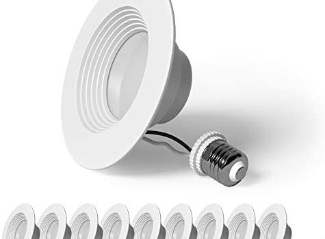 SunLake Lighting 10 Pack 4 Inch LED Recessed Downlight, Baffle Trim, Dimmable, 8W=60W, 3000K Warm White, 720 LM, Wet Rated Waterproof. Retrofit Kit. UL + Energy Star + Title 20 (Warm White)