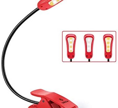 Vekkia Rechargeable 7 LED Book Light, Clip Light for Reading in Bed at Night, 3 Color × 3 Brightness, Up to 70 Hours Eye- Cared Reading. Perfect for Bookworms, Kids & Travel. (red)