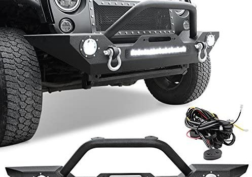 Rock Crawler Front Bumper Compatible with 07-18 Jeep Wrangler JK and JK Unlimited, Built-in 90W LED Light Bar w/ 2x 60W Fog Light, Wiring Harness, Winch Plate and D-rings Textured Black