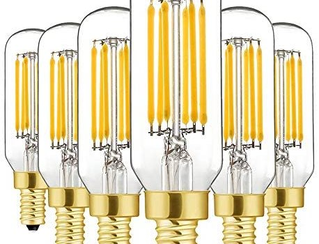 Dimmable T6 LED Bulbs, 6W E12 Edison Light Bulbs Soft White 3000K,600lm, 60W Candelabra Incandescent Bulbs Equivalent Vintage LED Filament Edison Candle Bulb with Decorative, 6Pack.