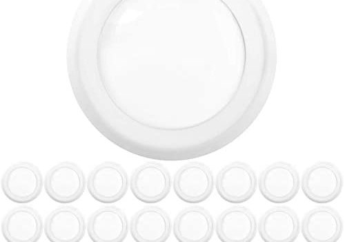 Sunco Lighting 24 Pack 5 Inch / 6 Inch Flush Mount Disk LED Downlight, 15W=100W, 3000K Warm White, 1050LM, Dimmable, Hardwire 4/6″ Junction Box, Recessed Retrofit Ceiling Fixture