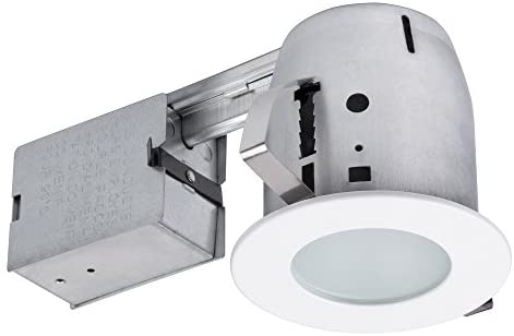 4″ LED IC Rated Flush Round Trim Recessed Lighting Kit, White, Tempered Frosted Glass, Easy Install Push-N-Click Clips, LED Bulb Included, 3.88″ Hole Size,90741
