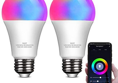 ELECWISH Smart LED Light Bulb Work with Alexa and Google Home A19 E26 9W 806lm Multicolor 2.4 GHz WiFi Dimmable Lights Bulbs Equivalent RGB Color Changing Bulb (2 Packs)