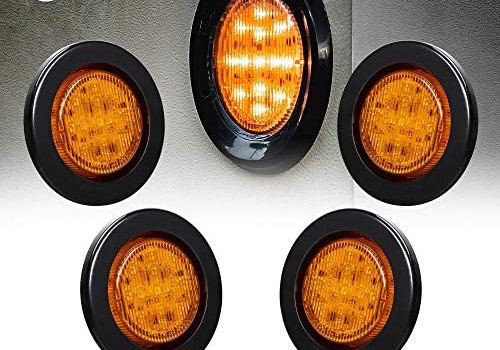 4pc 2.5″ Amber Round Trailer LED Marker Lights [DOT FMVSS 108] [SAE P2] [Reflector Lens] [Grommet] [Flush-Mount] [Waterproof IP67] Marker Lights for Trailer Truck