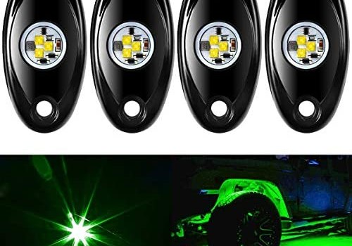 Amak 4 Pods LED Rock Light Kit for Jeep ATV SUV Offroad Car Truck Boat Underbody Glow Trail Rig Lamp Underglow LED Neon Lights Waterproof -Green