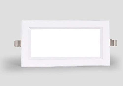 GLBS 12W White Rectangle Ultra-Thin LED Downlight Living Room Aisle Bedroom Bold Grille Recessed Lighting Aluminum Home Use Commercial Ceiling Panel Light (Color : 12W, Size : Warm Light 3000K)