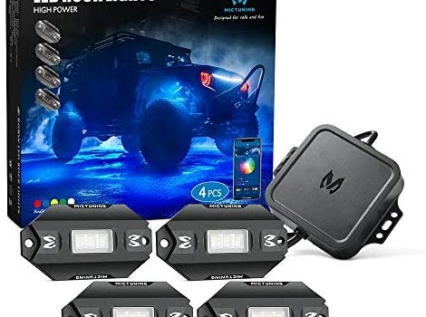 MICTUNING C1 4 Pods RGBW LED Rock Lights – Multicolor Underglow Neon Light Kit with Bluetooth Controller, Music Mode