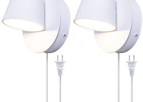 VILUXY Modern LED Bedside Wall Sconce Plug-in Cord with Switch Lighting Fixture 350 Rotation Adjustment White Wall Lamp for Bedroom 6W 3000K 2 Pack