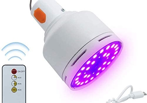 LED Lamp UV-C Light with Remote Control Portable LED Bulb Suitable for Car Home Restaurant School Office 1.5 Hours of use on one Charge