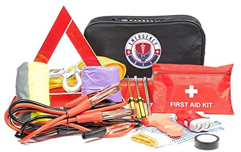 Roadside Assistance Emergency Car Kit – First Aid Kit, Jumper Cables, Tow Strap, led Flash Light, Rain Coat, Tire Pressure Gauge, Safety Vest and More Ideal Winter Accessory for your Car, Truck or SUV