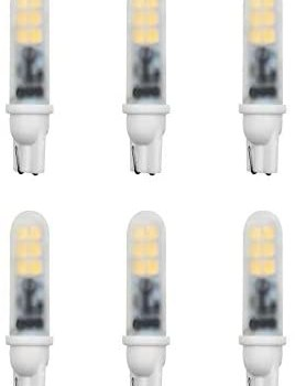 Makergroup T5 T10 Wedge Base LED Light Bulbs 12VAC/DC 2Watt Warm White 2700K-3000K for Outdoor Landscape Lighting Deck Stair Step Path Lights and Automotive RV Travel Tailer Lights 6-Pack