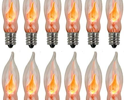 Holiday Joy – Flicker Flame Crystal Clear Flame Tip Candelabra Replacement Bulbs – Great for Electric Window Candle Lamps – CA5 – E12-1 Watt – 120 Volts (12 Pack)