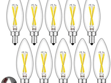 CRLight 2W 4000K LED Candelabra Bulb Daylight White 25W Equivalent 250LM, E12 Base Dimmable LED Chandelier Filament Light Bulbs, Antique Style B10 Clear Glass Candle Torpedo Tip, 10 Pack