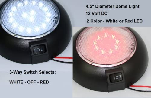 LED Dome Light – 4.5″ High Power White & Red LED Downlight – 12 Volt – Fixed Mount – for Home, Auto, Truck, RV, Boat and Aircraft