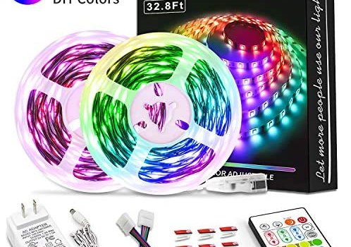 Bason Led Strip Lights, Led Lights for Bedroom 32.8ft with Remote Control and 12V Power Supply, SMD 5050 Led Color Changing Lights for Room, Kitchen, Indoor Decoration, 4096 DIY Color.