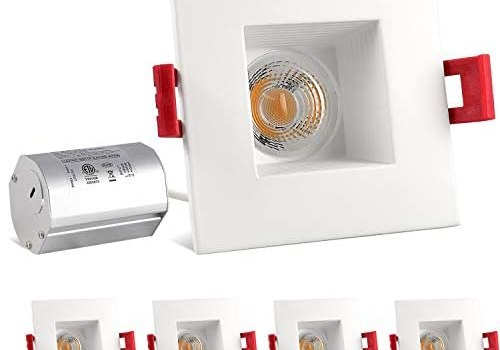 Luxrite 2 Inch Square LED Recessed Light with Junction Box, 8W (50W Equivalent), 3000K Soft White, 600 Lumens, Dimmable LED Downlight, Damp Rated, Regressed Trim, Energy Star, IC Rated (4 Pack)