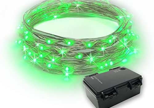 RTGS 60 LEDs String Lights Battery Operated on 20 Feet Long Silver Color Wire, Indoor and Outdoor with Waterproof Battery Box and Timer (Green)