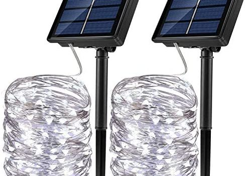 JosMega Upgraded Solar Powered String Fairy Lights 2 Pack 72 ft 200 LED 8 Modes Waterproof IP65 Twinkle Lighting Indoor Outdoor Fairy Firefly Lights Auto ON/Off (2 Pack 72 ft 200 LED, White)