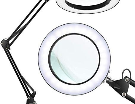 LANCOSC Magnifying Glass Desk Lamp with Clamp – White/Warm White Lighted 5-Diopter Magnifier Lens – Adjustable Metal Swivel Arm LED Light for Reading, Crafts, Professional Tasks (Black)