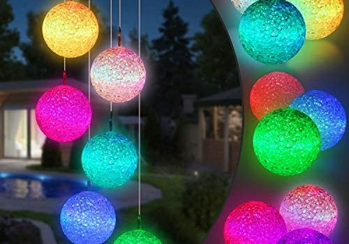 Toodour Solar String Lights, Color Changing Solar Ball Wind Chimes, LED Decorative Mobile, Waterproof Outdoor String Lights for Patio, Balcony, Bedroom, Party, Yard, Window, Garden