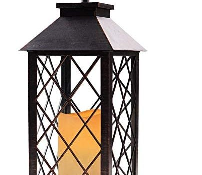 Bright Zeal 14″ Tall Vintage Candle Lantern with LED Flickering Flameless Candles and Timer (Distressed BRONZE) – LED Candle Lanterns Decorative – Indoor Outdoor Hanging Lights – Candles & Holders BZS