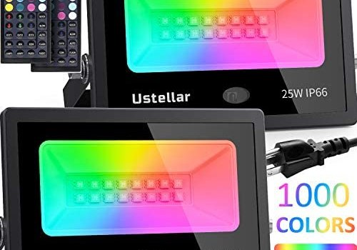 USTELLAR 2 Pack 25W RGB LED Flood Lights Color Changing Floodlight Indoor Outdoor Color Lights Remote IP66 Waterproof Dimmable Uplights Wall Wash Light for Garden Landscape Party Stage Lights