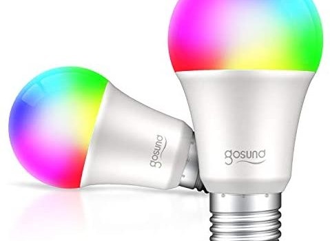 Gosund Smart Light Bulb LED WiFi RGB Color Changing Bulbs That Works with Alexa Google Home, E26 A19 8W Multicolor Lights Bulb, No Hub Required, 2.4GHz Only, 2 Pack