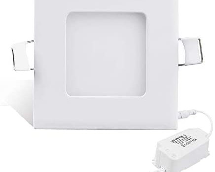 Sararoom 2 Pack 3.5 inch 3W LED Recessed Lighting with Junction Box, Ultra-Thin Recessed Ceiling Light Downlight 3000K Warm White, 240LM Square LED Panel Light for Home, Bathroom, Office