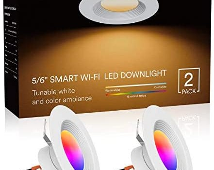 Lumary LED Smart Recessed Light 6 Inch Wi-Fi LED Ceiling Light Color Changing Can Lights Compatible with Alexa Google Assistant 13W 1100LM(2 Pack)
