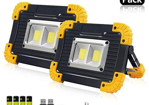 LED Portable Work Lights,SONEE Super Bright Rechargeable COB Flood Lights Waterproof Work Light with Stand Built-in Power Bank Job Site Light Indoor Outdoor Multi-Purpose Lights (L812Y-2PACK)
