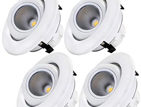Sun & Star 4 Inch Dimmable Gimbal LED Recessed Lighting Fixture, Directional Retrofit Downlight, 3000K Warm White, CRI90+, 10W(75W Equiv.) Energy Star & UL-Listed, Pack of 4