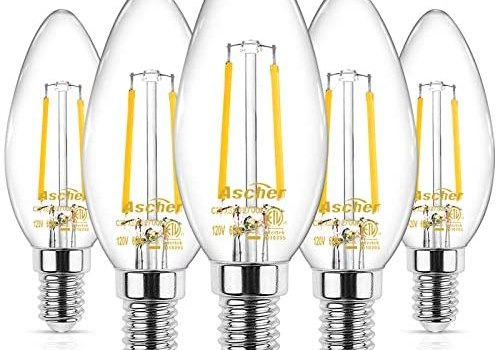 Ascher E12 LED Classic Candelabra Clear Light Bulb, 4W, Equivalent 40W, Warm White 2700K, Filament Clear Glass, Non-Dimmable, Pack of 5