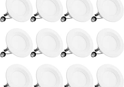 Bbounder Lighting 12 Pack 4 Inch LED Recessed Downlight, Baffle Trim, Dimmable, 9W=70W, 5000K Daylight, 650 LM, Damp Rated, Simple Retrofit Installation – UL + Energy Star No Flicker
