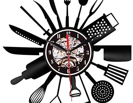 Retro Classic Kitchen Cutlery Vinyl Record Wall Art Spoon Fork Knife Kitchen Illuminated LED Vinyl Wall Clock Tableware Decorative Foodie Gift(30cm /12Inch)