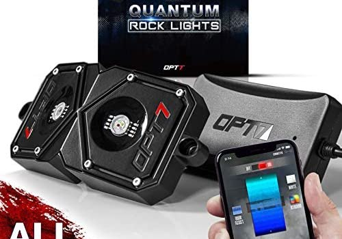 OPT7 Quantum Pro 4pc Rock Light LED RGBW Multicolor Neon with Bluetooth Controller-Dimmer Strobe Fade IP67 Waterproof Pods Off Road Crawling Climbing