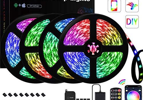 GUSODOR LED Strip Lights 65.6ft RGB Light 5050 LEDs Tape Strips Rope Light Music Sync Colors Changing with 24-Key Remote + Bluetooth Controller for Home TV Party – Smart APP Controlled [ Black Kit ]
