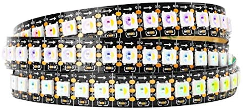 BTF-LIGHTING RGBW RGB+Natural White SK6812 (Similar WS2812B) Individually Addressable 3.3ft 1m 144(2X72) LEDs Flexible 4 Colors in 1 LED Dream Color LED Strip IP30 Non-Waterproof DC5V Black PCB