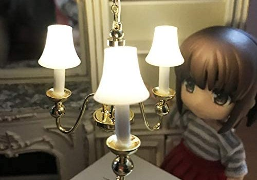 YuYe-xthriv Miniature 3-Head LED Chandelier Lamp for 1/12 Doll House Ornament Children Toy for Doll House Accessories Kids Toys Creative Gifts and Useful