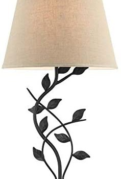 Kira Home Ambrose 31″ Traditional Rustic Table Lamp + Beige Fabric Shade, Leaf Detailed Body, 7W LED Bulb (Energy Efficient, Eco-Friendly), Matte Black Finish
