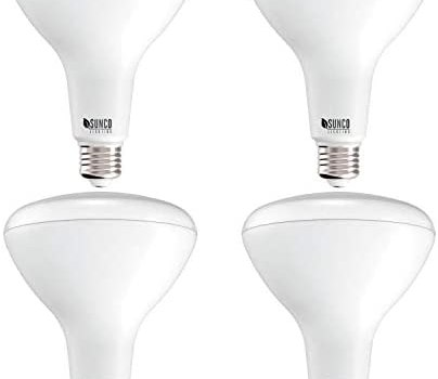 Sunco Lighting 4 Pack BR40 LED Bulb, 17W=100W, Dimmable, 2700K Soft White, 1400 LM, E26 Base, Indoor Flood Light for Cans – UL & Energy Star