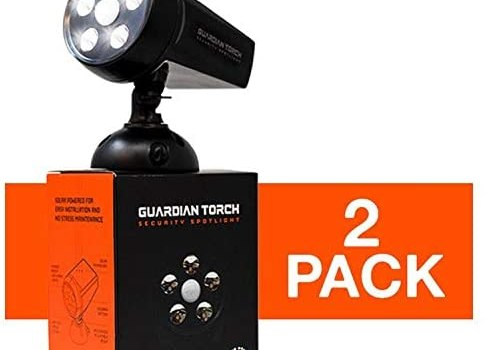 Guardian Torch – Home Security Spotlight (2 Pack) Solar Powered – 120° Motion Sensor – IP65 Water Resistant Outdoor Floodlight – 5 Bright LED Lights – Dusk to Dawn
