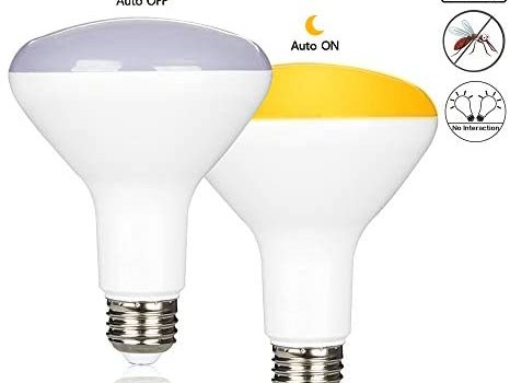 Yueximei 10W Dusk to Dawn BR30 Yellow Bug LED Light Bulb, 60W Equivalent, 2000K, 850 Lumens, E26 Base, 120V, Not-Dimmable, Auto On/Off, for Indoor and Outdoor, 2 Pack