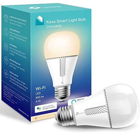 Kasa Smart Light Bulb, LED Smart WiFi Alexa Bulbs works with Alexa and Google Home,A19 Dimmable,2.4Ghz,No Hub Required, 800LM Soft White(2700K), 10W(60W Equivalent)(KL110)