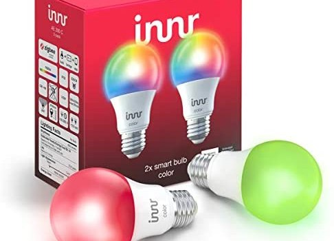Innr Smart Bulb Color A19, Works with Philips Hue, SmartThings, Alexa, Google Home (Hub Required), Dimmable RGBW LED Light Bulb, 60W Equivalent, AE 280C (2-Pack)
