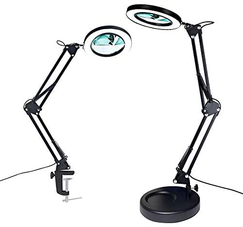 Magnifier Desk Lamp, Addie 2-in-1 Dimmable Daylight Bright LED Magnifying Lamp with Utility Clamp and Stand, 3 Color Modes Magnifier Lighted Glass Lens Swivel Arm Light for for Reading, Craft – Black