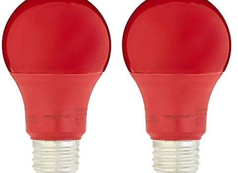 AmazonBasics 60 Watt Equivalent, Non-Dimmable, A19 LED Light Bulb | Red, 2-Pack (Renewed)