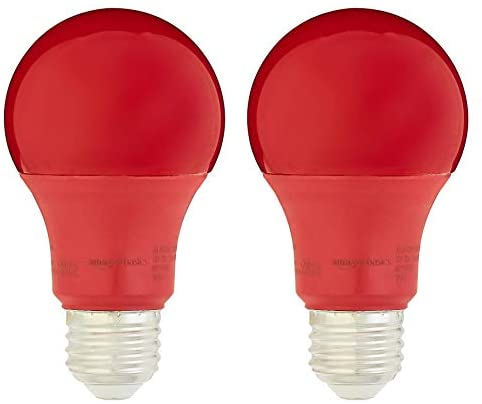 AmazonBasics 60 Watt Equivalent, Non-Dimmable, A19 LED Light Bulb   Red, 2-Pack (Renewed)