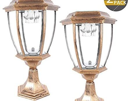 2 Pack Outdoor Solar Post Lights,Waterproof LED Landscape Light Energy Saving Lantern lamp,for Fence Deck or Patio (Bronze)