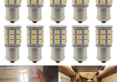 Qoope – Pack of 10-3000K Warm White 1156 BA15S 1141 1003 1073 7506 LED Bulbs 5050 27-SMD Replacement Lamps for 12V Interior RV Camper Trailer Lighting Boat Yard Light Bulbs