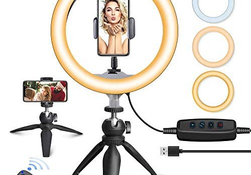 UBeesize 10″ LED Ring Light with Tripod Stand & Phone Holder, Dimmable Desk Makeup Ring Light, Perfect for Live Streaming & YouTube Video, Photography, 3 Light Modes and 11 Brightness Levels